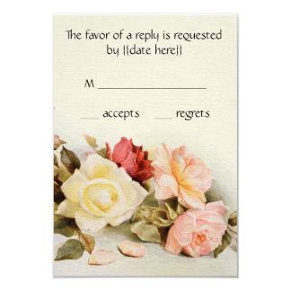 Vintage Wedding Antique Garden Rose Flowers RSVP Card