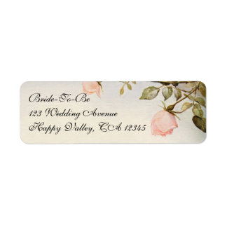 Vintage Wedding, Antique Pink Rose Garden Flowers Return Address Label