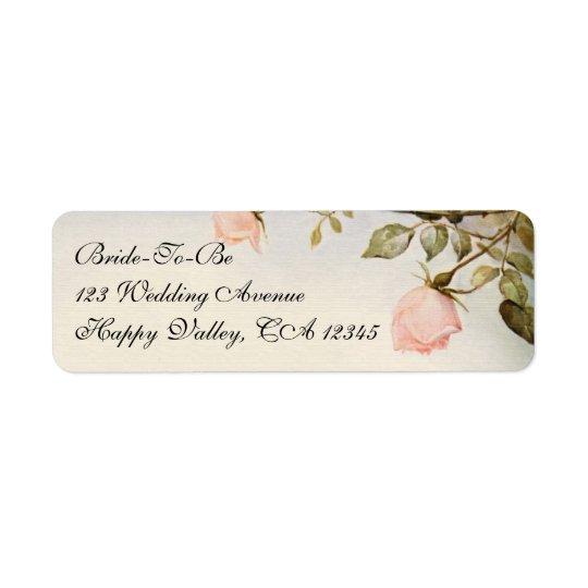 Vintage Wedding, Antique Pink Rose Garden Flowers Return Address Label