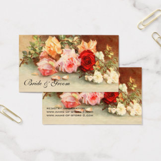 Vintage Wedding, Antique Rose Flowers Floral Art Business Card