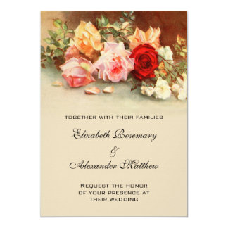 Vintage Wedding, Antique Rose Flowers Floral Art Card