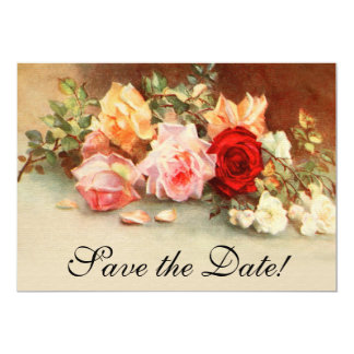 Vintage Wedding Antique Rose Flowers Save the Date Card
