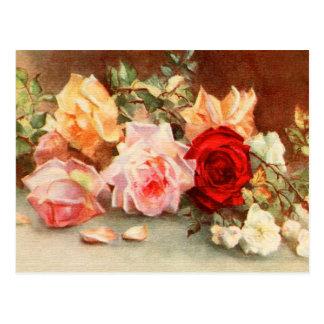 Vintage Wedding Antique Rose Flowers Save the Date Postcard