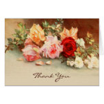 Vintage Wedding, Antique Roses Flowers, Thank You Greeting Cards