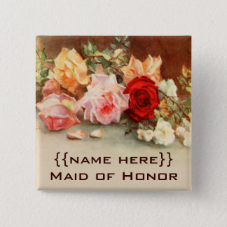 Vintage Wedding Badge Antique Roses Flowers Floral 2 Inch Square Button