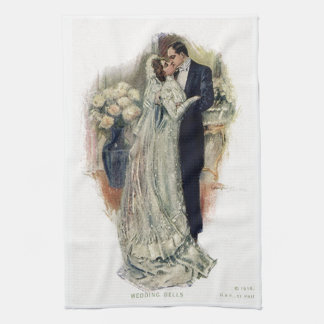 Vintage Wedding Bells Bride And Groom Kitchen Towel