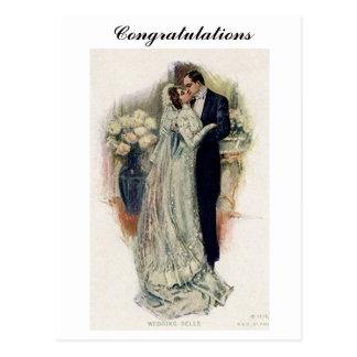 Vintage Wedding Bells Bride And Groom Postcard