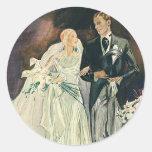 Vintage Wedding, Bride and Goom, Newlyweds Round Sticker