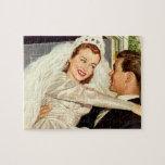 Vintage Wedding Bride and Groom, Happy Newlyweds Puzzles