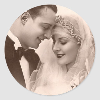 Vintage Wedding Bride and Groom Round Sticker