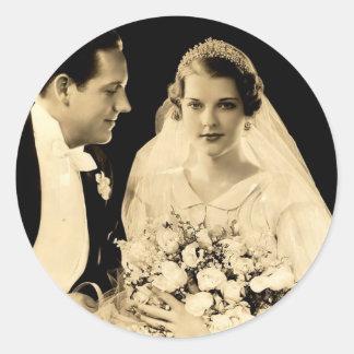 Vintage Wedding Bride and Groom Sticker