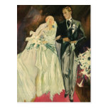 Vintage Wedding Bride Groom Newlywed Save the Date Postcard