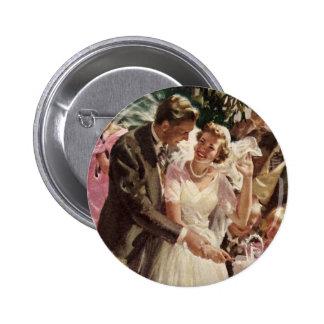 Vintage Wedding Bride Groom Newlyweds Cut Cake 2 Inch Round Button