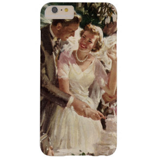Vintage Wedding Bride Groom Newlyweds Cut Cake Barely There iPhone 6 Plus Case