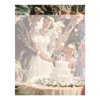 Vintage Wedding Bride Groom Newlyweds Cut Cake Full Colour Flyer