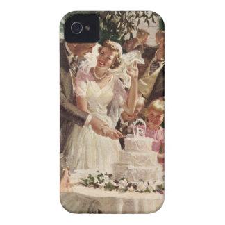 Vintage Wedding Bride Groom Newlyweds Cut Cake iPhone 4 Cases