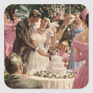 Vintage Wedding Bride Groom Newlyweds Cut Cake Square Sticker