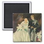 Vintage Wedding Bride Groom Newlyweds Just Married Fridge Magnet