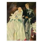 Vintage Wedding Bride Groom Newlyweds Just Married Post Card