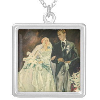Vintage Wedding Bride Groom Newlyweds Just Married Silver Plated Necklace