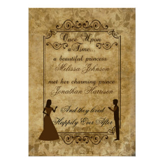 Vintage wedding Bride Groom Once upon a time Poster