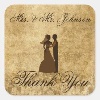 Vintage wedding Bride Groom Thank you Square Sticker