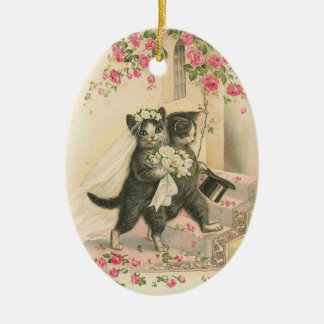 Vintage Wedding Cats, Ceramic Ornament