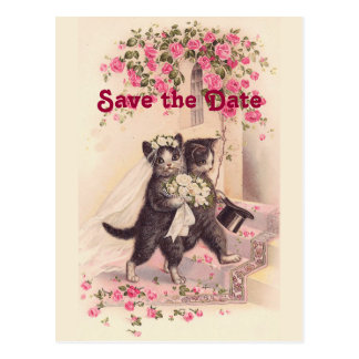 Vintage Wedding Cats Save the Date Postcard
