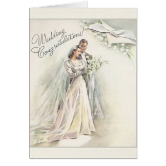 Vintage Wedding Congratulations Card
