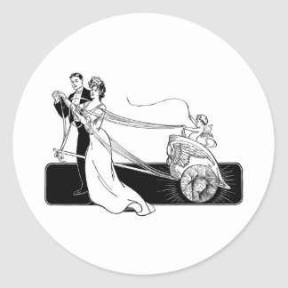 Vintage Wedding Couple Classic Round Sticker