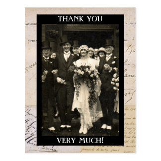 Vintage Wedding Couple Thank You Template Postcard