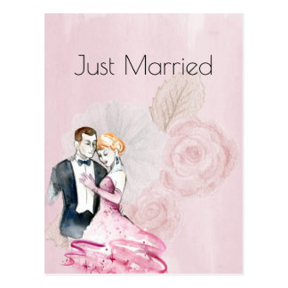 Vintage Wedding Couple With Pink Rose Just Married Postcard