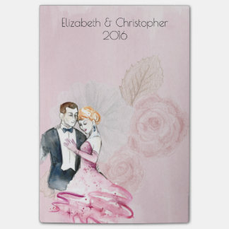 Vintage Wedding Couple With Pink Rose Personalized Post-it Notes