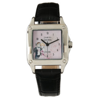 Vintage Wedding Couple With Pink Rose Personalized Watches