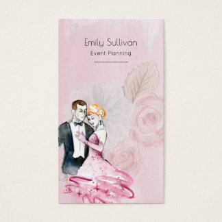 Vintage Wedding Couple With Pink Roses Business Card