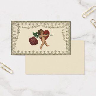Vintage Wedding, Cupid with Red Rose and Heart Business Card