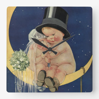 Vintage Wedding, Cute Bride and Groom on a Moon Clocks