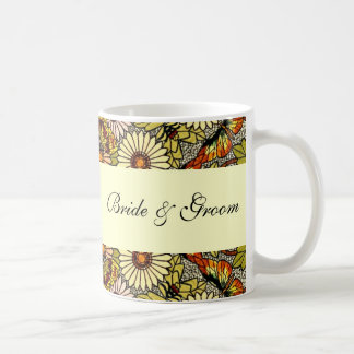 Vintage Wedding, Garden Flowers Floral Butterflies Coffee Mug
