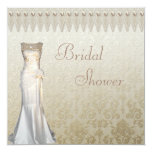 """Vintage Wedding Gown Pearls & Lace Bridal Shower 5.25"""" Square Invitation Card"""