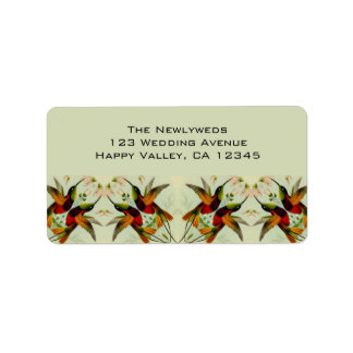 Vintage Wedding, Hummingbirds and Flowers Label