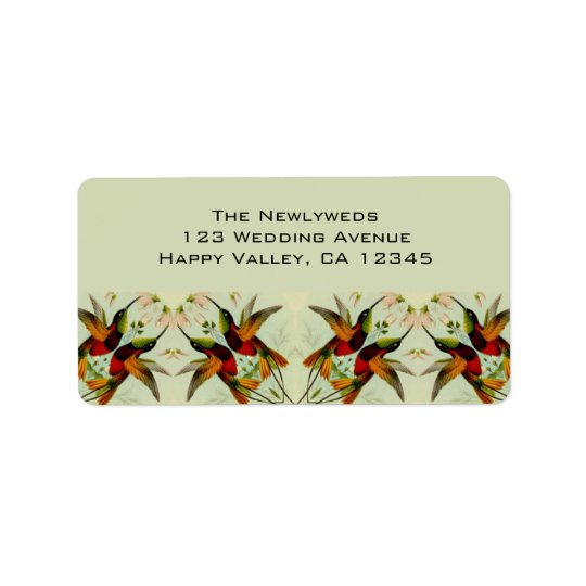 Vintage Wedding, Hummingbirds and Flowers Label