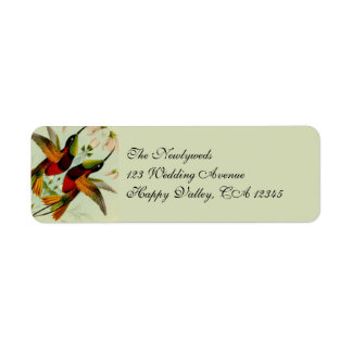 Vintage Wedding, Hummingbirds and Flowers Return Address Label