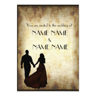 "Vintage Wedding in silhouette 5"" X 7"" Invitation Card"