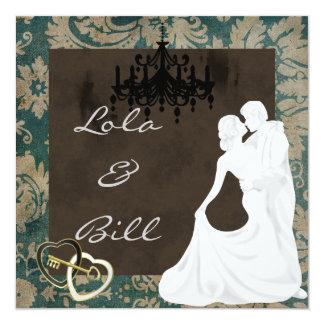 "VINTAGE  WEDDING Invitation BLUE &  BEIGE DAMASK 5.25"" Square Invitation Card"
