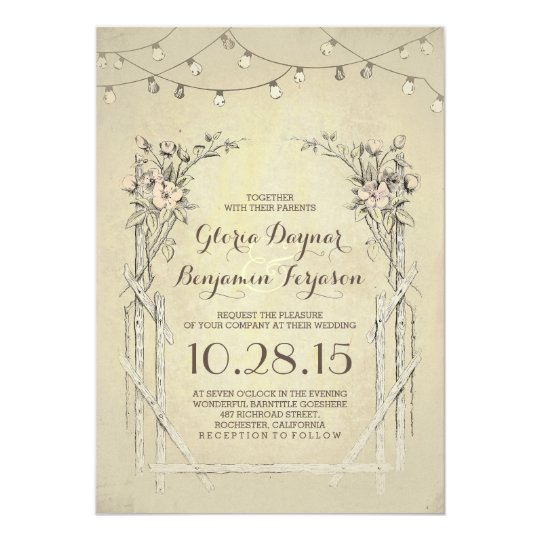 vintage wedding invitation with string lights