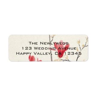 Vintage Wedding, Japanese Pink Magnolia Tree Return Address Label