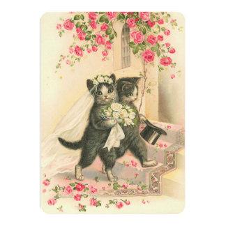 "Vintage Wedding Kittens 5"" X 7"" Invitation Card"