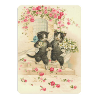 Vintage Wedding Kittens Card