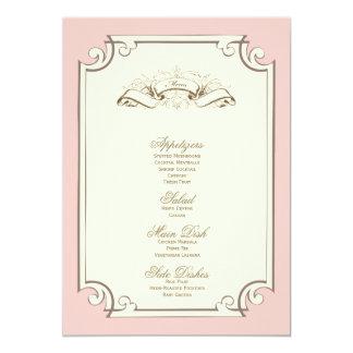 "{vintage} wedding menu 5"" x 7"" invitation card"