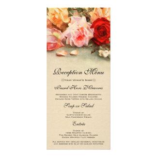 Vintage Wedding Menu Card, Antique Roses Flowers
